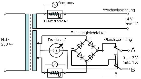 Modellbahntrafo liefert auch Gleichstrom